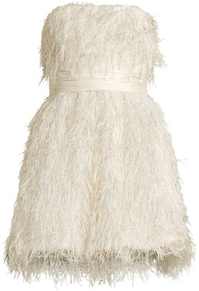Jay Godfrey Remi Strapless Metallic Feather Mini Dress