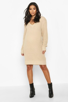 boohoo Maternity V Neck Sweater Dress