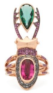 Daniela Villegas Cleodora Sapphire & Tourmaline 18kt Gold Ring - Pink Multi