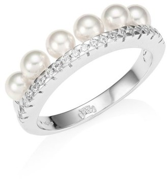 Majorica Silver 4mm Round Pearl & Crystal Ring
