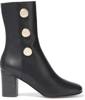 Chloé Orlando Button-embellished Leather Ankle Boots