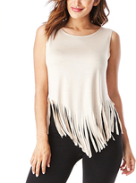 Doeskin Fringe-Trim Sleeveless Top
