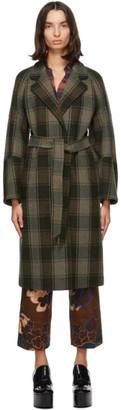 Dries Van Noten Khaki Check Belted Coat