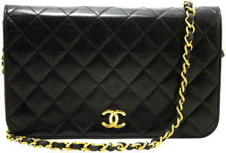 Chanel Black Quilted Leather Vintage Full Flap Bag