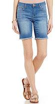 Celebrity Pink Super Soft Frayed Hem Woven Stretch Denim Bermuda Shorts