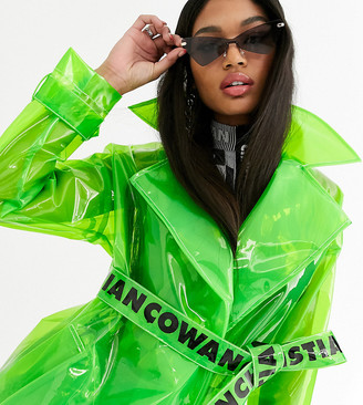 clear Asos Design ASOS DESIGN x Christian Cowan lime trenchcoat-Green
