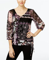 INC International Concepts Printed Tie-Hem Top, Only at Macy's