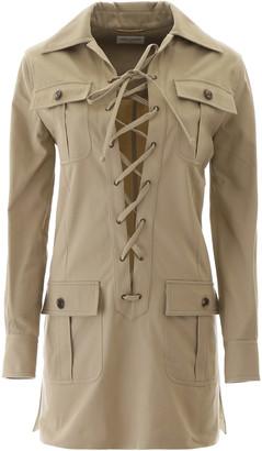Saint Laurent SAHARIENNE MINI DRESS 36 Beige Cotton