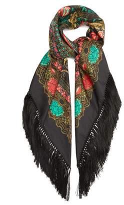 Etro Fringed Floral-print Silk Scarf - Womens - Black