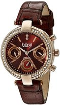 Burgi Women's BUR129RD Diamond & Crystal Accented Multifunction Rose Gold and Burgundy Leather Strap Watch