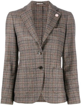 Lardini Houndstooth Check Blazer Jacket