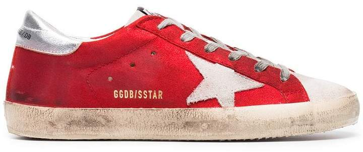 Golden Goose Metallic Red Superstar leather sneakers