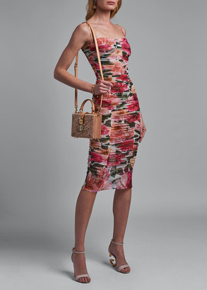 Dolce & Gabbana Ruched Floral-Print Bodycon Dress