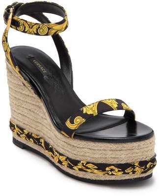 Versace Baroque Leather Espadrille Wedge Heel