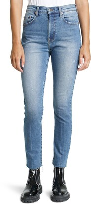 Pistola Denim Cara Distressed High Waist Raw Hem Ankle Skinny Jeans