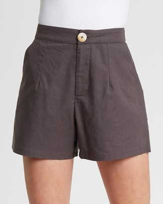Calli - Women's Grey High-Waisted - Brinklow Tailored Shorts - Size 8 at The Iconic
