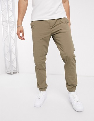 Celio casual trouser with elastic waist in Tan