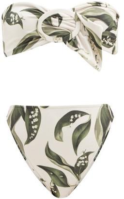 Adriana Degreas Muguet-print Bandeau Bikini - Cream Print