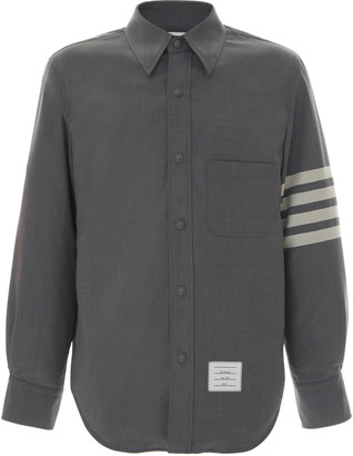 Thom Browne Four-Stripe Wool Button-Down Shirt