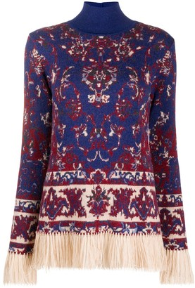 Paco Rabanne Persian tapestry print fringed jumper