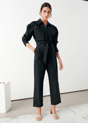 And other stories Cotton Blend Utility Jumpsuit