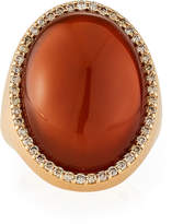 Roberto Coin 18k Rose Gold Oval Agate & Diamond Trim Ring, Size 6.5