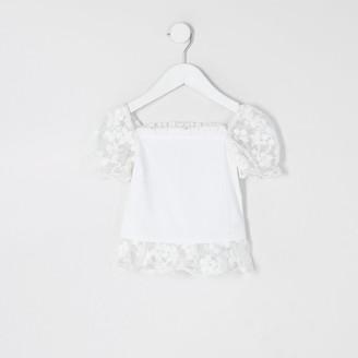 River Island Mini girls white organza sleeve frill top