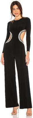 Norma Kamali Stud Long Sleeve Cut Out Jumpsuit