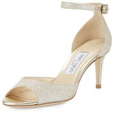 Jimmy Choo Annie Glitter 65mm Sandal, Platinum Ice