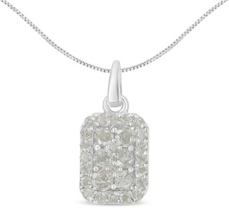 Overstock Sterling Silver 1ct. TDW Diamond Block Pendant Necklace