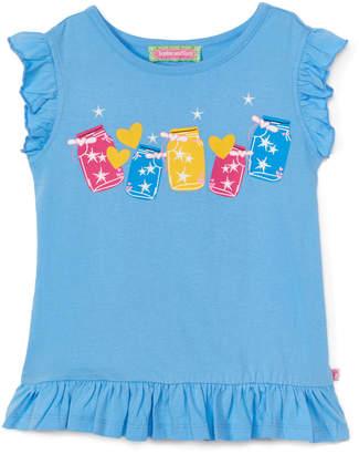 SAM. Sophie & Girls' Tee Shirts Light - Light Blue Starlight Jars Ruffle Angel-Sleeve Top - Infant, Toddler & Girls