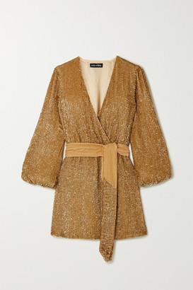 retrofete Julie Velvet-trimmed Sequined Chiffon Mini Dress - Gold