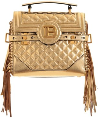Balmain B-Buzz Fringe Quilted Metallic Leather Satchel