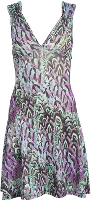 Modern Touch Women's Casual Dresses PURPLE - Violet & Green Feather Cutout V-Neck Dress - Women