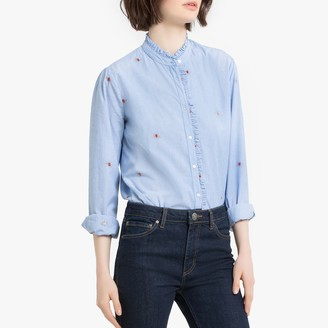 Pepe Jeans Floral Embroidered Striped Cotton Blouse with High Collar and Long Sleeves