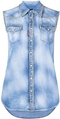 DSQUARED2 Crystal-Embellished Denim Shirt