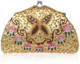 BMC Womens Tiny Bead Encrusted Butterfly Design Clutch Evening Bag