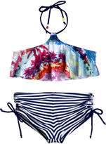 Big Chill Pink Palm Tree & Stripe Bikini - Girls
