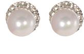 Love Rocks Shell Pearl Stud Earrings & Crystal Halo Ear Jacket Set