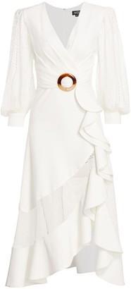 PatBO Mesh Trim Belted Midi Dress