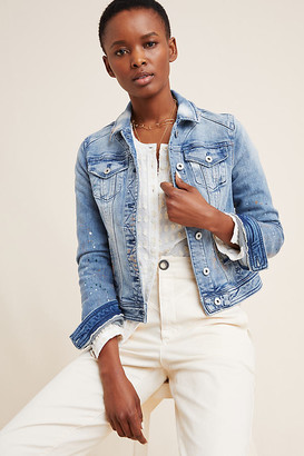 Pilcro Paint-Splattered Denim Jacket By Pilcro and the Letterpress in Blue Size XS