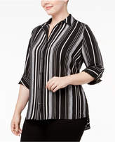 NY Collection Plus Size Striped Utility Blouse