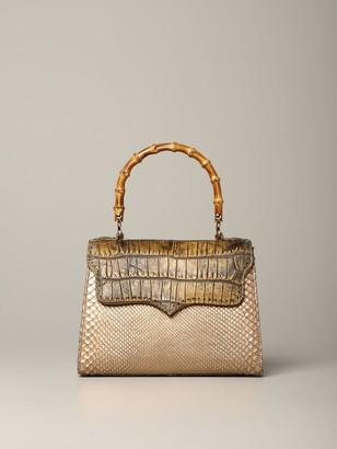 Tari' Rural Design Tarigrave; Rural Design Small Bronze Brown Bag In Crocodile Leather
