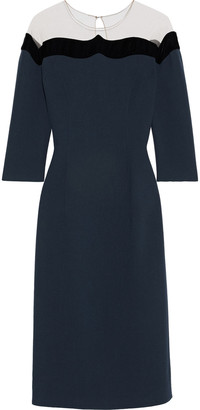 Oscar de la Renta Tulle-paneled Wool-blend Crepe Midi Dress