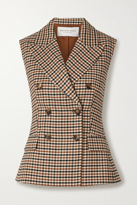 Michael Kors Collection Double-breasted Checked Wool-blend Gabardine Vest - Beige