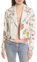 Alice + Olivia Women's Cody Embroidered Crop Leather Jacket