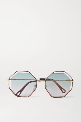 Chloé Poppy Octagon-frame Tortoiseshell Acetate And Gold-tone Sunglasses