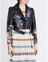Alexander McQueen Floral-embroidered leather jacket