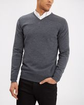 Jaeger Merino Wool V-Neck Sweater