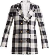 Thom Browne Double-breasted checked wool-blend jacket